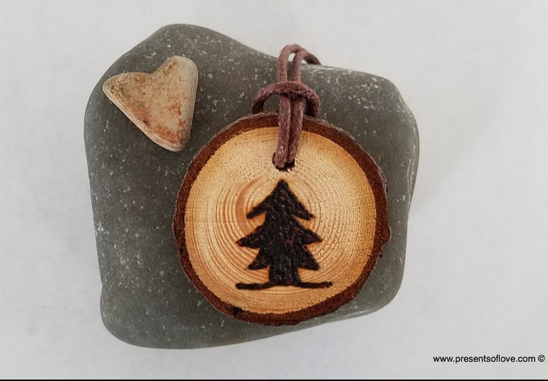 Pyrography Necklace with Christmas Pine Tree