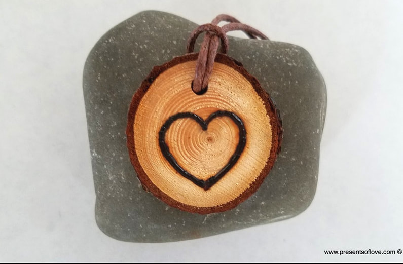 Wooden Necklace Pendant with Heart