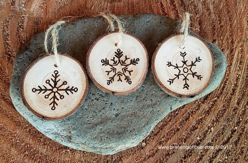 Snowflake wooden ornaments